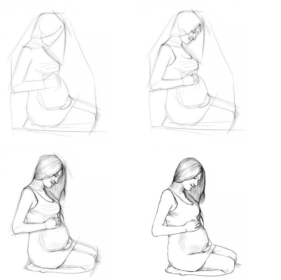 Береманая женшина рисовать