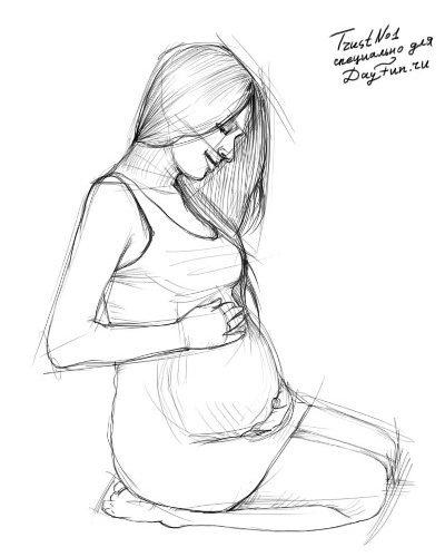 беременная девушка рисунок