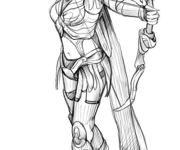 Нарисовать девушку война с луком