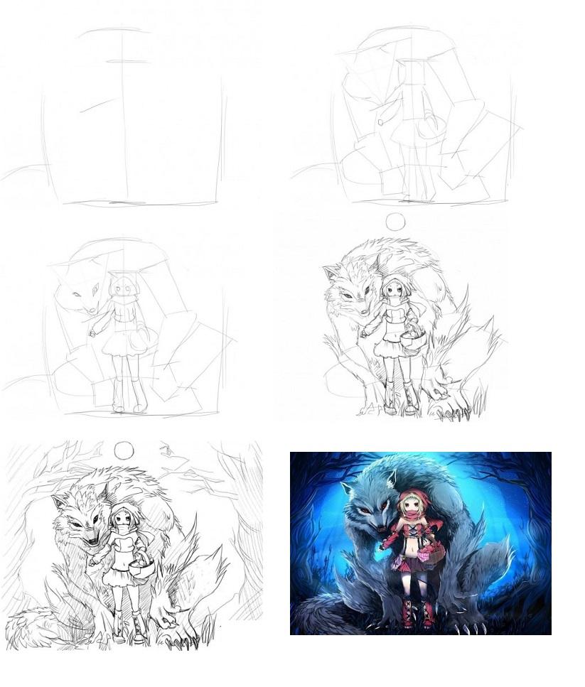 Как-нарисовать-Красную-Шапочку-карандашом-поэтапно-1-470x376