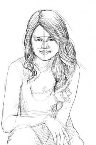 Как-нарисовать-Селену-Гомес-карандашом-поэтапно-4-313x470