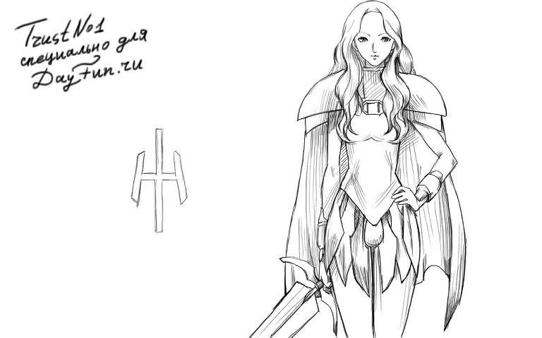 девушка с мечом рисунок