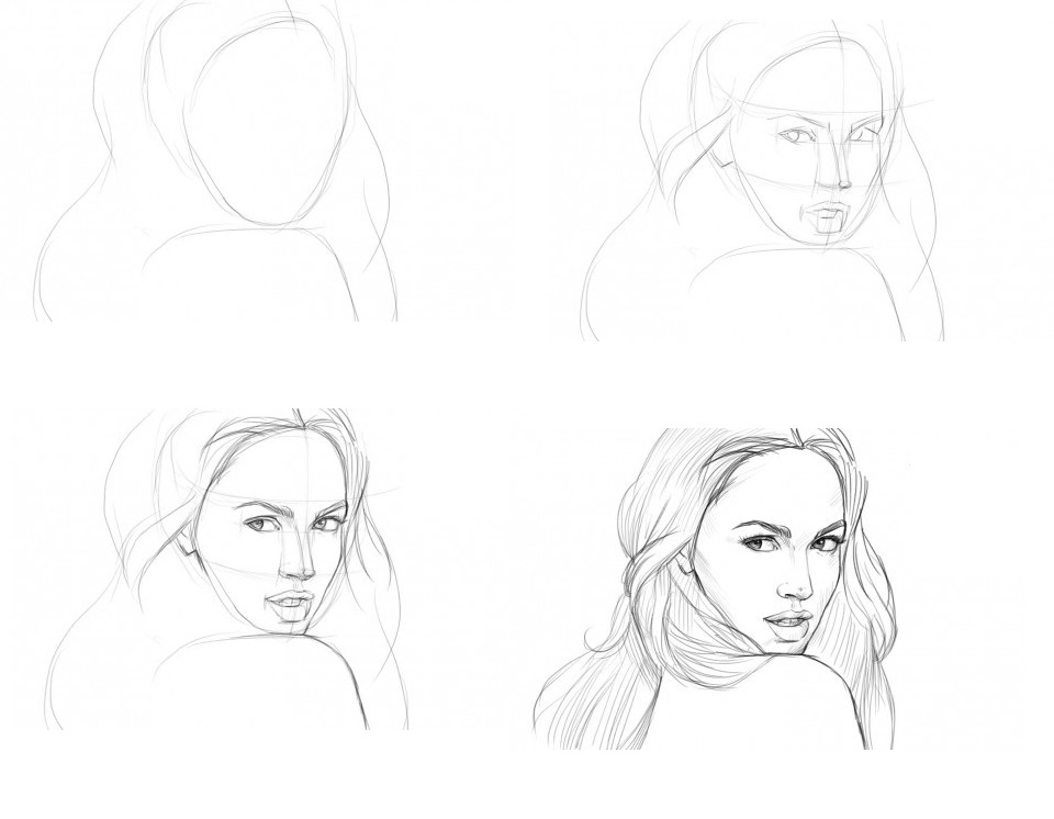 Как красиво нарисовать девушку карандашом для поэтапно