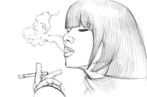 Человек с сигаретой нарисовать