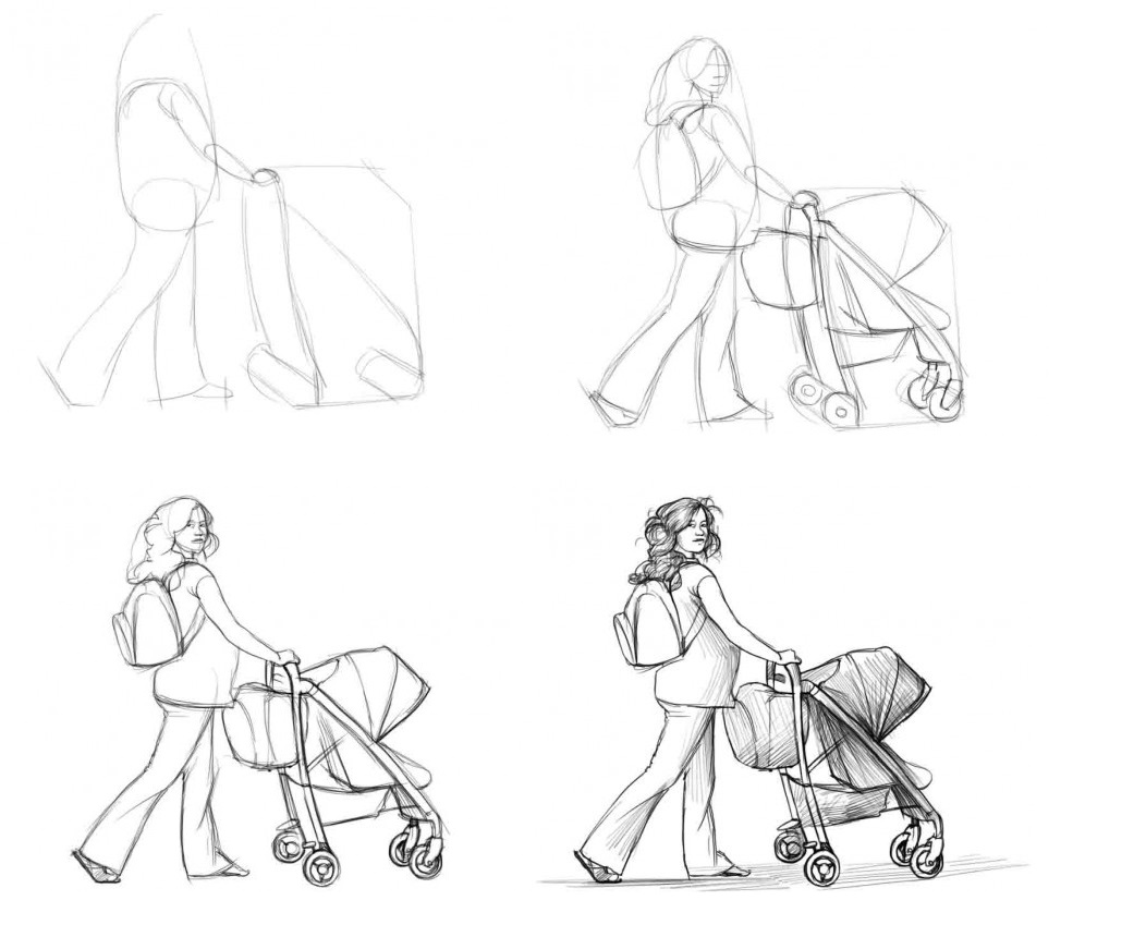 Как-нарисовать-девушку-с-коляску-поэтапно