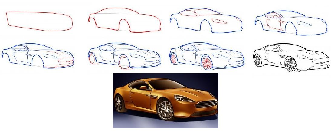 Как поэтапно научиться рисовать машины