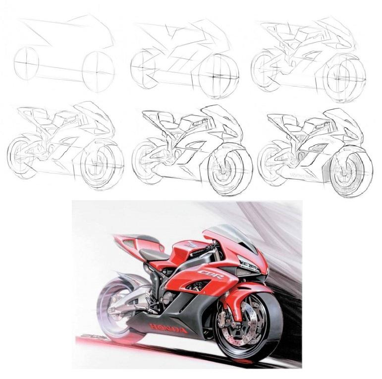 как-нарисовать-мотоцикл-Хонда-карандашом-1-470x352