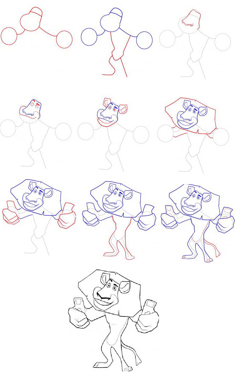Как-нарисовать-Алекса-из-Мадагаскара-1
