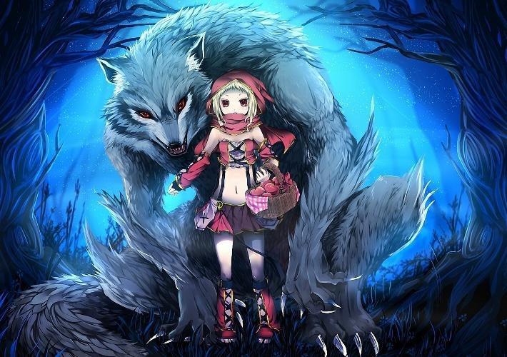 Как рисовать красную шапочку и волка аниме